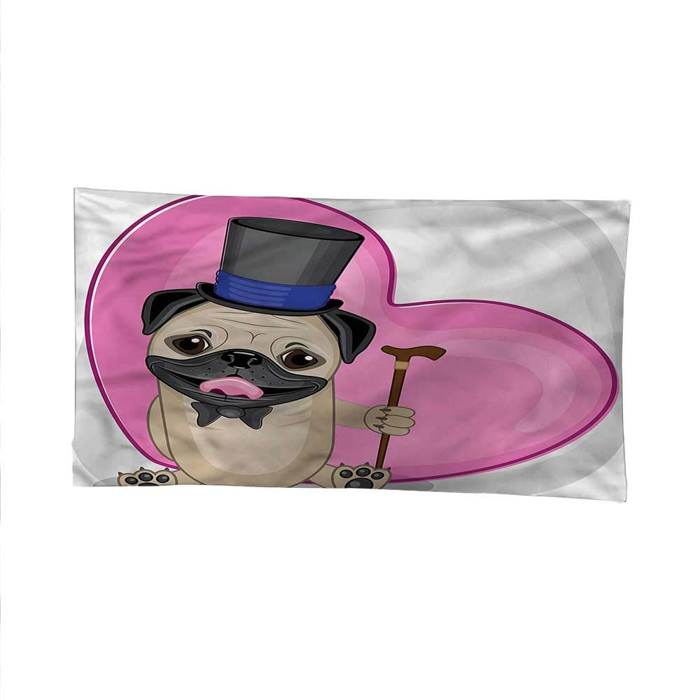 Pugocean tapestrylarge tapestryFunny Dog with Top Hat 91W x 60L Inch