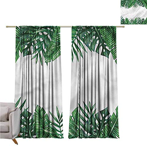 zojihouse Palm LeafThermal Insulated Room Blackout Curtains Forest Leaves Frame W82xL72