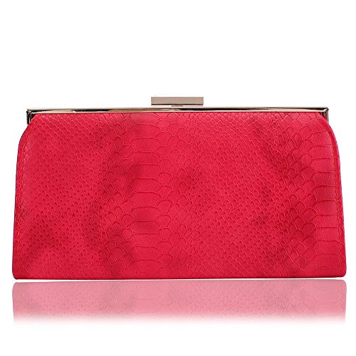 - Womens Leather Evening Clutch Bag ,WALLYN'S Handbags Crocodile Pattern purse For Party And Wedding (Red)