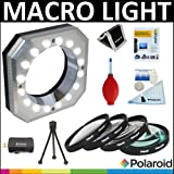 Polaroid Digital Macro 16 LED Ring Light + Polaroid Optics 4 Piece Close Up Filter Set (+1, +2, +4, +10) + Cleaning & Accessory Kit For The Nikon D40, D40x, D50, D60, D70, D80, D90, D100, D200, D300, D3, D3S, D700, D3000, D5000, D3100, D3200, D7000, D5100, D4, D800, D800E, D600 Digital SLR Cameras Which Have Any Of These (18-55mm, 55-200mm, 50mm, 40mm, 28mm) Nikon Lenses