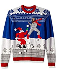 Blizzard Bay Mens Jesus Santa Snowball Fight Ugly Christmas Sweater Sweater