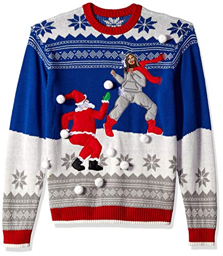 Santa Snowball (Blizzard Bay Men's Jesus Santa Snowball Fight Ugly Christmas Sweater, blue, Medium)
