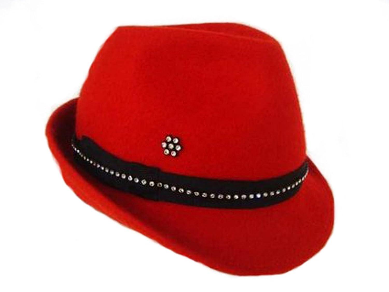 Roter Filzhut mit Strass perfekt zum Dirndl Gr. 55