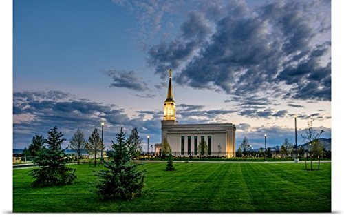 "Poster Print entitled Star Valley Wyoming Temple, Morning Clouds, Afton, Wyoming by Scott Jarvie 36""x24"""