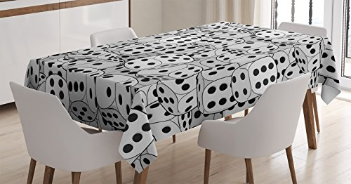 - Ambesonne Casino Decorations Tablecloth by, The Dices Close-up Abstract Monochromic Chaotic Crowded Gaming Houses, Dining Room Kitchen Rectangular Table Cover, 60 X 84 Inches