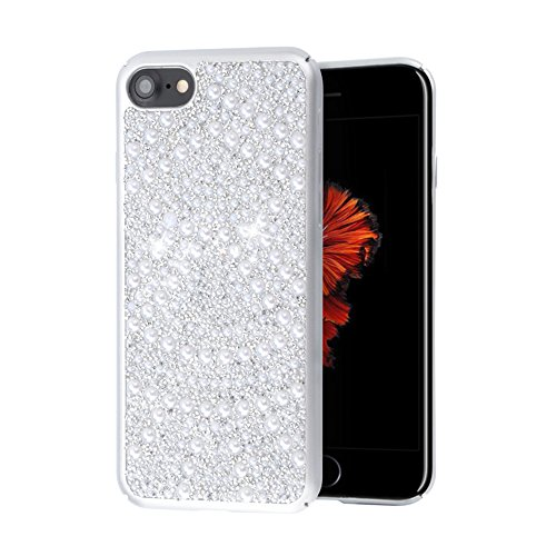 Re iPhone 7 Case iPhone 8 Case Luxury 3D Handmade Bling Sparkle Full Pearl Diamonds Rhinestones Full Edge Protection PC Hard Case for iPhone 7 / 8 (Silver) ()