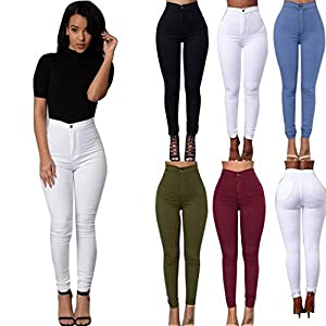 Perman Women Denim Jeans Girls Skinny Stretch Pencil Pants Tights Leggings