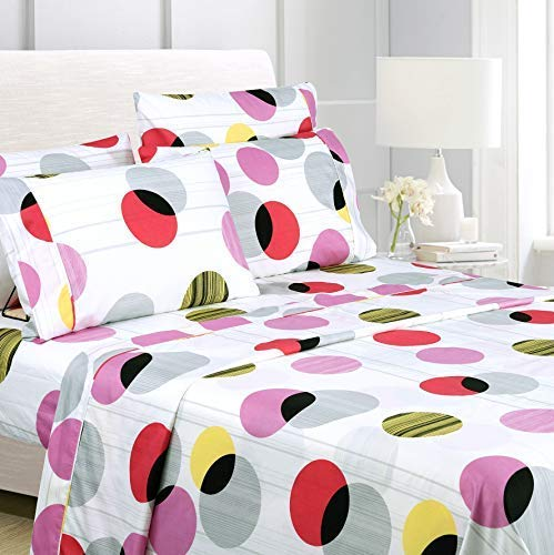 American Home Collection Deluxe 6 Piece Printed Sheet Set Of Brushed Fabric, Deep Pocket Wrinkle Resistant - Hypoallergenic (Queen, Multi Circles) ()