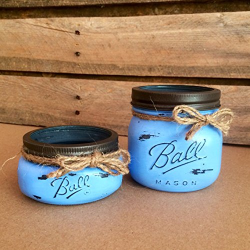 Country Rustic Denim Blue Mason Jar Bathroom Accessories