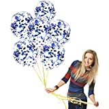 """12"""" Blue Confetti Star Balloons 