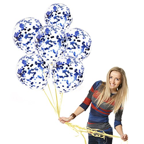 Treasures Gifted Navy Blue Confetti Balloons, Gender Reveal Box Party Decorations Kit, Metallic Star Marble Latex Supplies for a Aqua Birthday Celebration or Moonlight Affair
