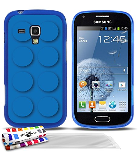 GENUINE Extra-Slim flexible Blue Case Blue brick By MUZZANO for SAMSUNG GALAXY S DUO + 3 UltraClear Screen protector
