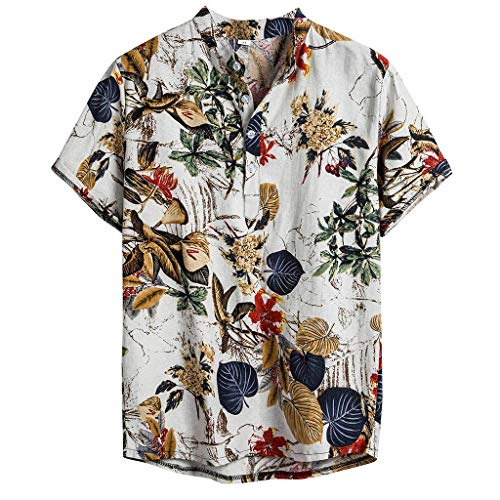 NIUQI Mens Ethnic Short Sleeve Casual Cotton Linen Printing Hawaiian Shirt Blouse -