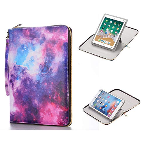 (Anvas Universal Case for 7-8 Inch Tablet, Synthetic Leather 360 Rotating Standing Document Pocket Folio Portable Wallet Case for All 7 Inch to 8 Inch Tablet, Galaxy)