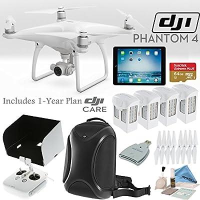 DJI Phantom 4 Quadcopter w/ Everything You Need Bundle: Includes 4 Batteries, DJI Backpack, iPad Mini 4, SanDisk 64GB MicroSD Card, 1 Year DJI Care Plan and more...