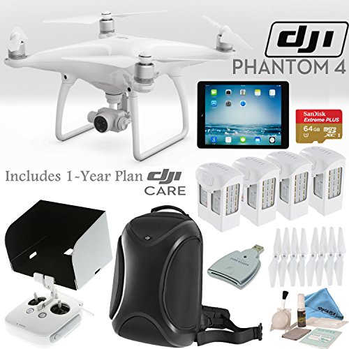 DJI Phantom 4 Quadcopter w/ Everything You Need Bundle: Includes 4 Batteries, DJI Backpack, iPad Mini 4, SanDisk 64GB MicroSD Card, 1 Year DJI Care Plan and more…