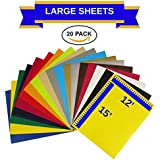 "EcoRise Heat Transfer Vinyl Assorted Colors Starter Pack- 20 Sheets - 12"" x 15"" HTV Bundle Iron on for DIY T Shirts, Hats, Clothing for Silhouette Cameo, Cricut, or Heat Press Machine Tool"