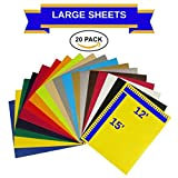 EcoRise Heat Transfer Vinyl Assorted Colors Starter Pack- 20 Sheets - 12'' x 15'' HTV Bundle Iron on for DIY T Shirts, Hats, Clothing for Silhouette Cameo, Cricut, or Heat Press Machine Tool