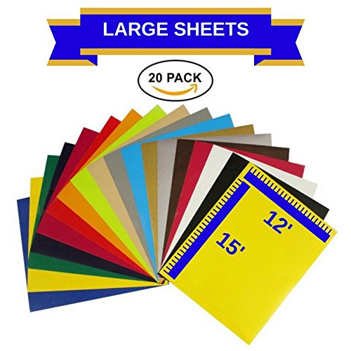 EcoRise Heat Transfer Vinyl Assorted Colors Starter Pack- 20 Sheets - 12'' x 15'' HTV Bundle Iron on for DIY T Shirts, Hats, Clothing for Silhouette Cameo, Cricut, or Heat Press Machine Tool by EcoRise
