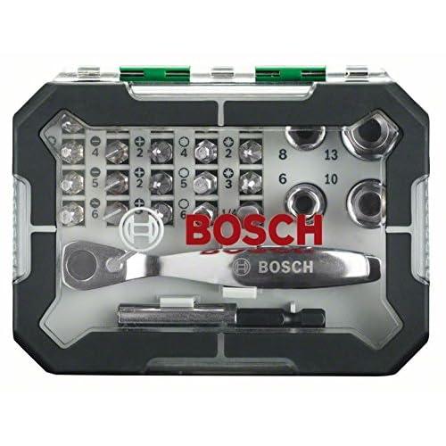 Bosch 2607017331 Set con 26 Unidades para atornillar, Incluye Puntas, Vasos y Llave de carraca, Color Verde y Gris, Negro, 0