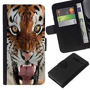 KingStore / Leather Etui en cuir / Samsung Galaxy Core Prime / Tigre Rugido Bostezo intenso Naturaleza Animal