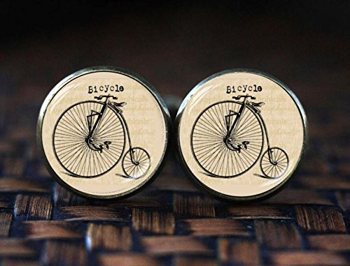 Bicycle cufflinks, Hipster Vintage Style Bike cufflinks, vintage bicycle cufflinks, old bike cufflinks, Antique Bicycle Bike - Amethyst Silver Cufflinks Plated