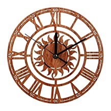 Compia 23cm*23cm Vintage Retro Style Non-Ticking Silent Antique Wood Wall Clock for Home Kitchen Office Decor