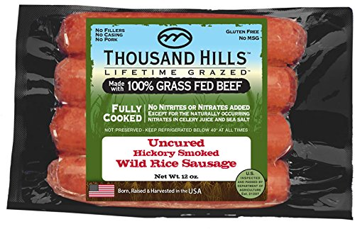 Uncured Hickory Smoked Wild Rice Sausage 3 oz (8 units @ 12 oz) by Thousand Hills (Image #3)
