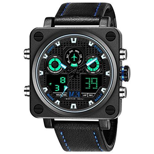 Auto Black Dial (Menton Ezil Men's Sport Leather Strap Analog Quartz Waterproof Watches Auto Calendar Wrist Watch for Teen Boys (Black(Square)))