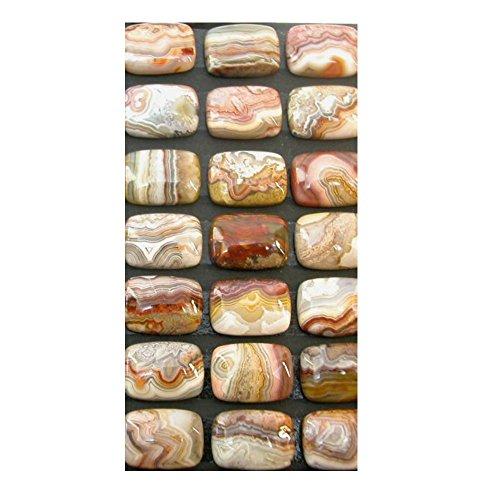 (Genuine Laguna Lace Agate (Mex) Gemstone 13x18mm Cushion Cabochons (pkg of 3 Stones))