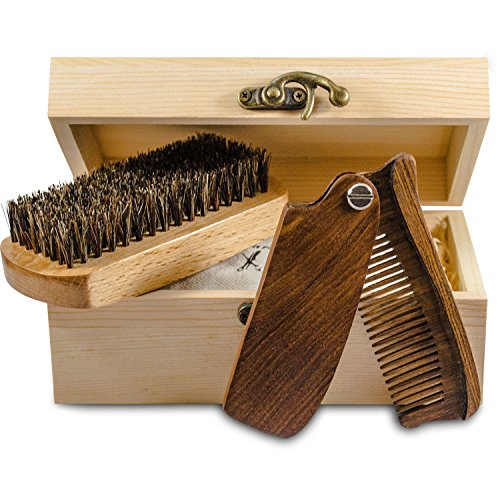 Beard and Mustache Grooming Care Kit – Wooden Folding Comb and Natural Beard Brush for mens Giftbox Premium Care Set for Men Facial Hair Sandalwood Folding Pocket Comb Beech Brush Wooden Box