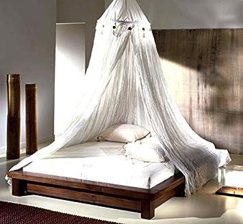 Cama de matrimonio Tatami estilo étnico moderno de madera maciza de teca, con mosquitera mezcla de lino – Unico Zen