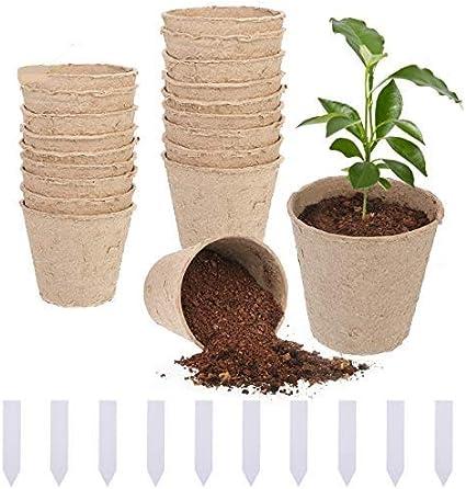 BFACCIA 20Pcs Macetas de Fibra, 8x8 cm,Macetas para Plantas Biodegradable,Macetas de Turba para Plantasde de Semillero, Enfermería, Plantas de Suministro, con 100 Etiquetas de Plástico para Plantas