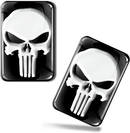 Skinoeu 2 X Aufkleber 3d Gel Silikon Stickers Punisher Skull Schädel Totenkopf Auto Moto Motorrad Fahrrad Skate Fenster Tür Pc Tablet Laptop Tuning Ks 137 Auto