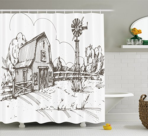 Countryside Windmill (Ambesonne Windmill Decor Shower Curtain by, Rustic Barn Farmhouse Hand Drawn Illustration Countryside Rural Meadow, Fabric Bathroom Decor Set with Hooks, 70 Inches, Taupe White)