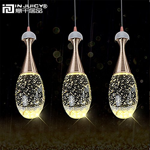 Injuicy Lighting Modern Luxury Crystal Bubble Perfume Bottle Pendant Lights Fixtures American Led Pendant Lamps for Cafe Bar Dining Rooms Restaurants Living Room Bedrooms Gift (3 Head Rectangle Plate) by Injuicy (Image #4)