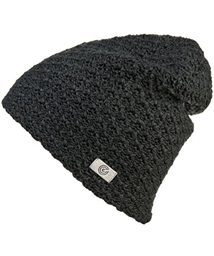 Evony Warm Thick Slouch Beanie for Women- Textured Knit with Soft Inner Lining - One Size