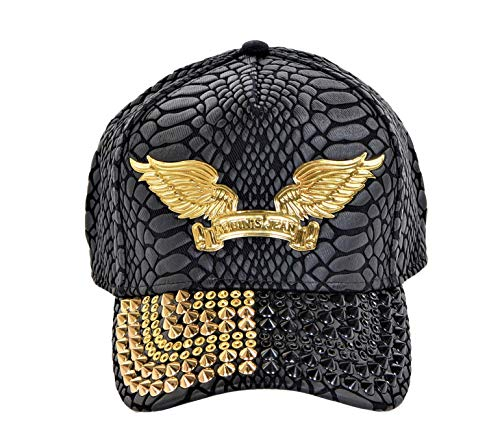 Robin's Jean Crackle Cap With Black and Gold Diamond SW Gold Spikes Curve Bill Snap Back Black One Size