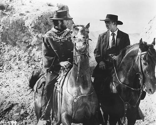 For a Few Dollars More 8x10 Clint Eastwood Lee Van Cleef on horseback Promotional Photograph (Promotional Van)