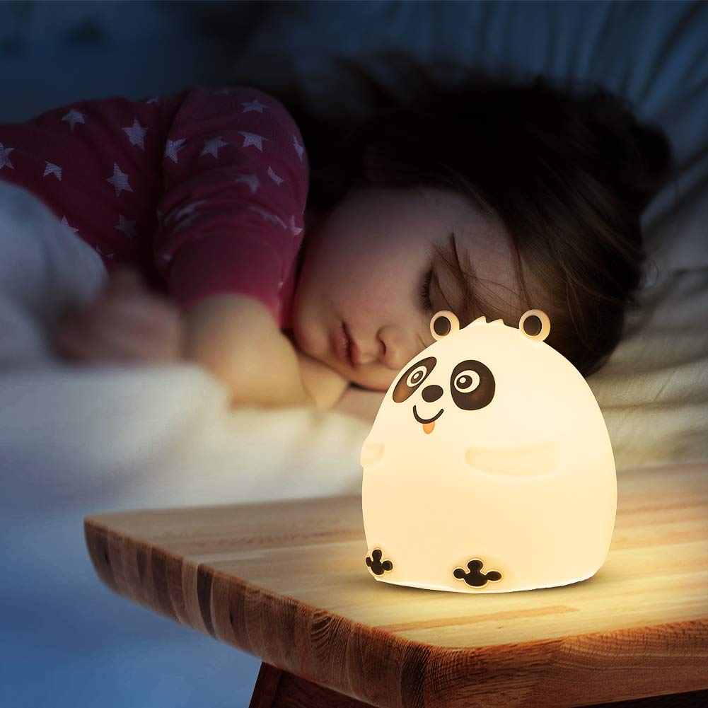 Cute Night Lightfor Kids, Panda Silicone Portable Night Light for Girls, Boys,Baby and Toddle - Rechargeable and Color Changing Baby Night Light