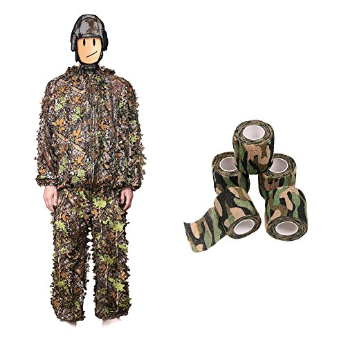 Military Wrap (Trekoo Camo Suits, 3D Leaves Camouflage Clothing + 5 Rolls Military Camouflage Tape Camo Wrap, Lightweight Clothing Suits, Zippered Hooded Ghillie Suit for Outdoor Hunting Tactical Camouflage)