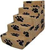 Best Pet Supplies Best Pet Supplies – 5-step Foam Pet Stairs/Steps – Black Paw on Beige Suede For Sale