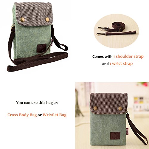 6S Pouch 4 Children Phone with iPhone Strap Plus 6 Mini Hengying Body Phone Galaxy Girls 7 for Note Plus Mobile Cross Green Women Purse Light Bag Ring Key Green 3 X 5 Universal 3 for Wrist Canvas 2 6 Mega CTzqw4