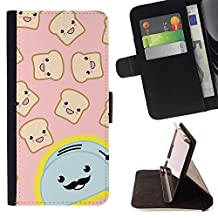 Toaster Cartoon Handlebar Happy Toast - Colorful Pattern Flip Wallet Leather Holster Holster Protective Skin Case Cover For Apple (4.7 inches!!!) iPhone 6 / 6S