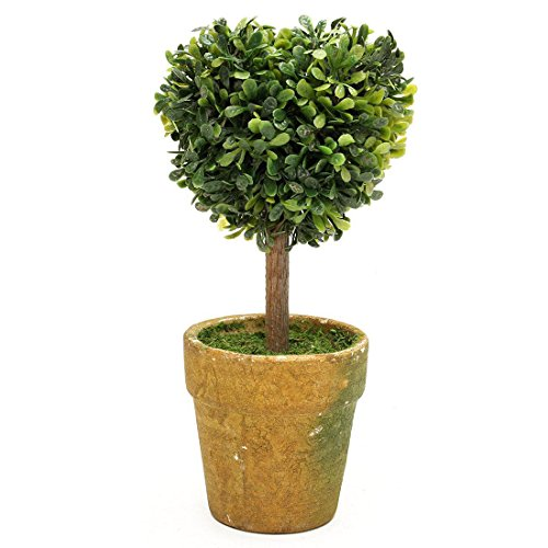 SODIAL(R) Artificial Plastic Trees In Pots Plants Potted Decor Garden Yard Outdoor Indoor - Heart 15Cm/5.9 inch (For Trees Small Patios Potted)