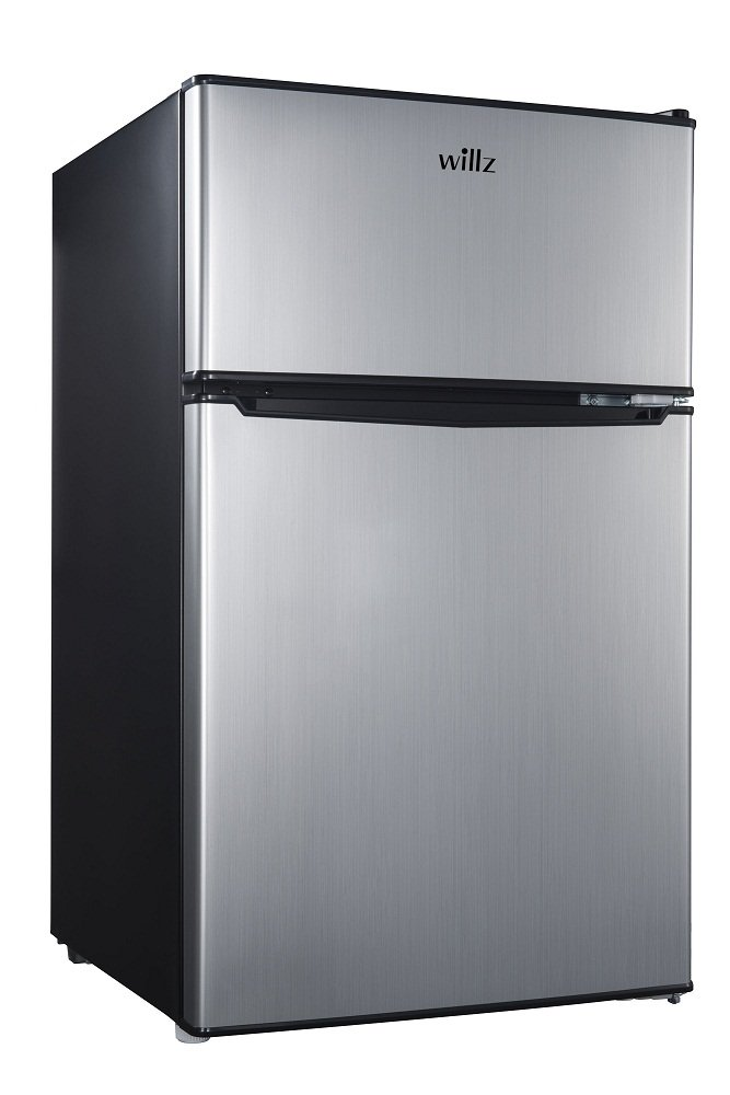 Willz 3.1 Cu Ft Refrigerator Dual Door True Freezer, Stainless Steel
