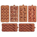 6 Pack Silicone Baking Molds, Dinosaur Chocolate Mold, Forest Theme Animal Mould with Shape of Dinosaur,Bear,Lion,Bee,Butterfly,frog,fox Etc food grade molds for Cake Candy Chocolate Jelly Ice Cube Sm