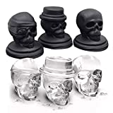 Kisstaker Flexible Silicone Skull Shape 3D Ice Cube Tray Mold Maker Chocolate Mould Bar Cold Drinks Whiskey