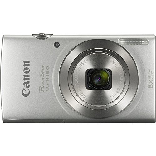 Canon PowerShot ELPH 180 Digital Camera (Silver) with 32GB Memory + Case
