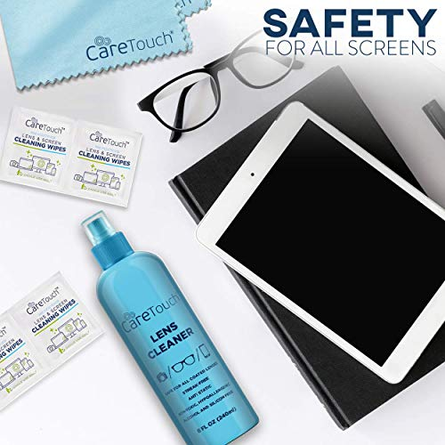 f3d97caeea4b Care Touch Alcohol Free Glasses Lens Cleaner Kit | 2 8oz Spray Bottles +  2oz Travel Spray Bottle +2 Cloths | Safe for All Coated Lenses, Eyeglasses  ...